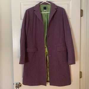 Lavender with lime green lining pea coat